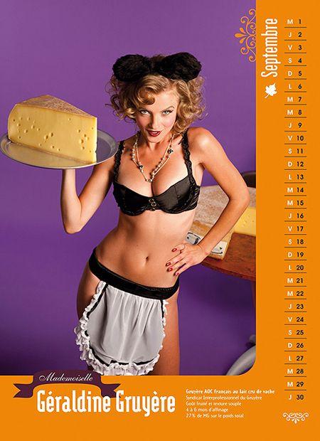 Сырный календарь с девушками.