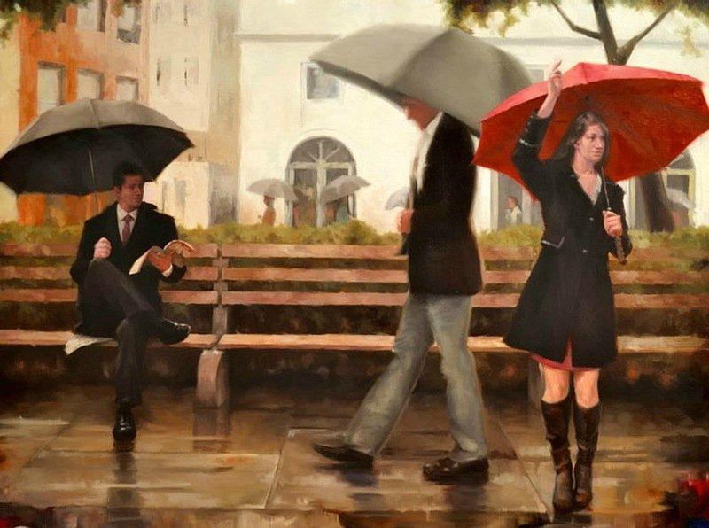 Художник, рисующий счастливых людей под красным зонтом. Картины Daniel Del Orfano.