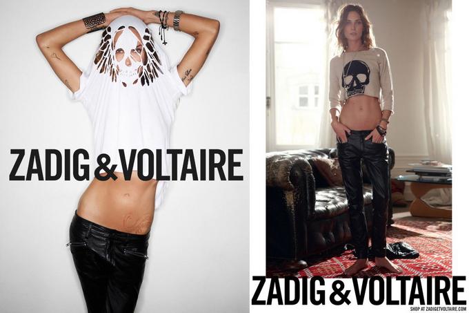 Модель Erin Wasson в рекламной кампании Zadig & Voltaire