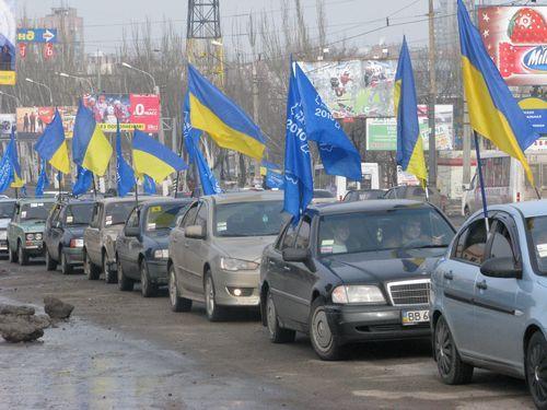В Луганске ударили автопробегом в честь инаугурации Януковича